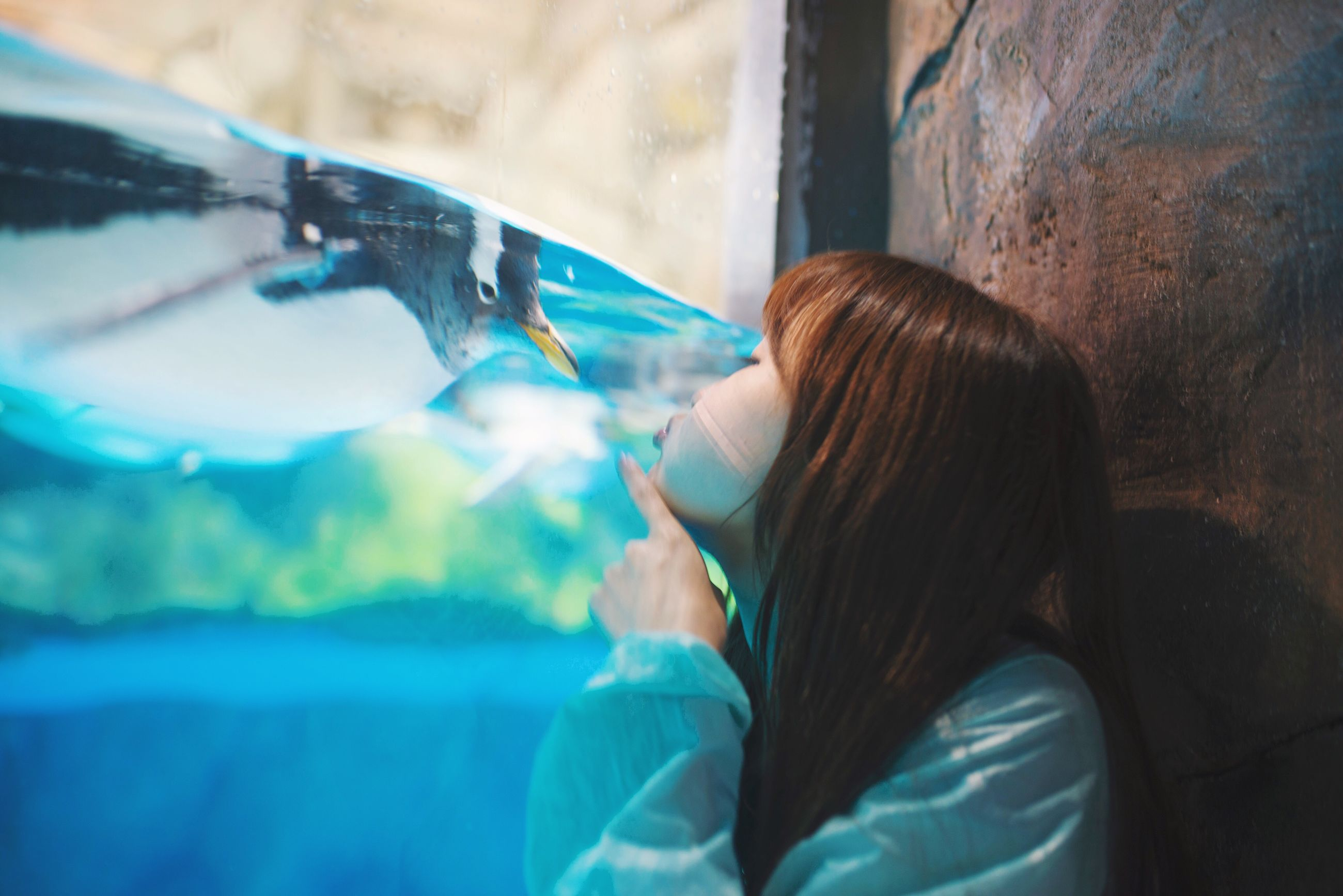 lifestyles, leisure activity, headshot, rear view, water, person, head and shoulders, focus on foreground, blue, indoors, long hair, waist up, close-up, side view, transparent, day, casual clothing, sea