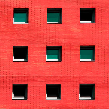revisit 010 Architecture Backgrounds Brick Wall Building Exterior Built Structure Day Full Frame Low Angle View Minimalism Minimalist Architecture Minimalz No People Outdoors Red Squares Urban Geometry The Architect - 2017 EyeEm Awards BYOPaper! The Graphic City