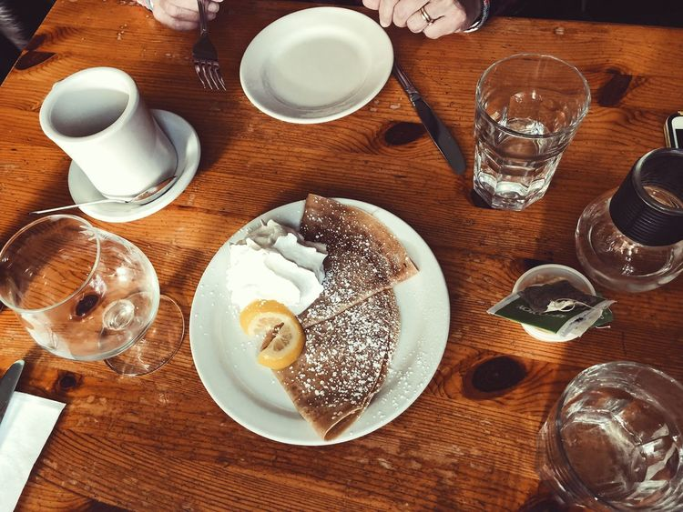 Food And Drink Table Lemon Dessert Crêpes Crepe Table Drinking Glass Drink Food And Drink Plate High Angle View Indoors  Refreshment Drinking Water Wood - Material No People Freshness Breakfast Love Yourself