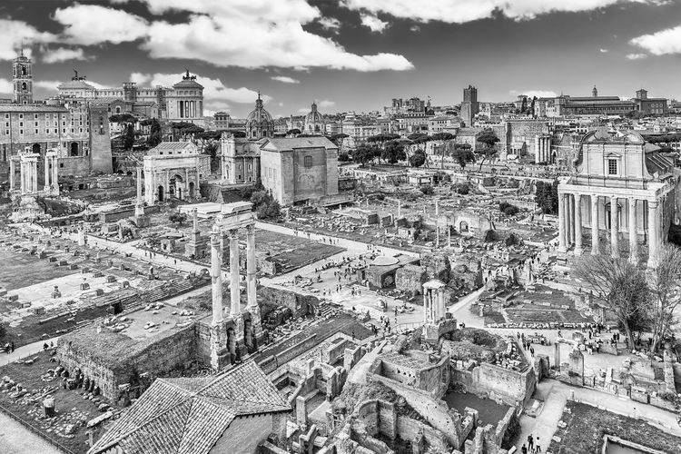View of roman forum against sky