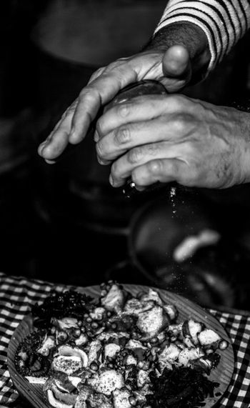 Barcelona Black And White Cheff Close-up Cooking Focus On Foreground Food Food And Drink Freshness Hands Healthy Eating Holding Kitchen Octopus Peppers Preparation  Real People Sea Food The Photojournalist - 2017 EyeEm Awards