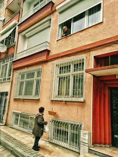 Elderly Couple Man Woman Residence Residents Daily Life Lifting Window Basket Rope Street Photography Urban Lifestyle Agedpeople