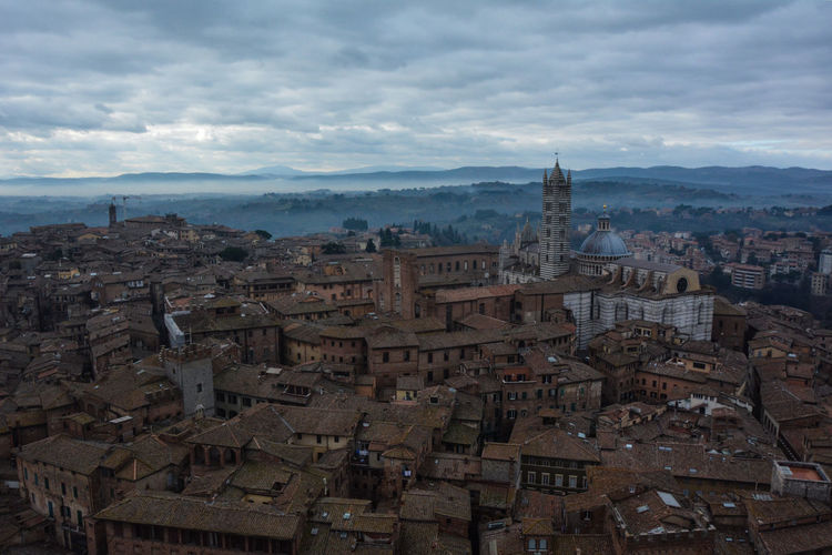 View from the tower, Siena. Aerial View Architecture Cathedral Clouds And Sky History Landscape Siena Top Perspective The Architect - 2016 EyeEm Awards