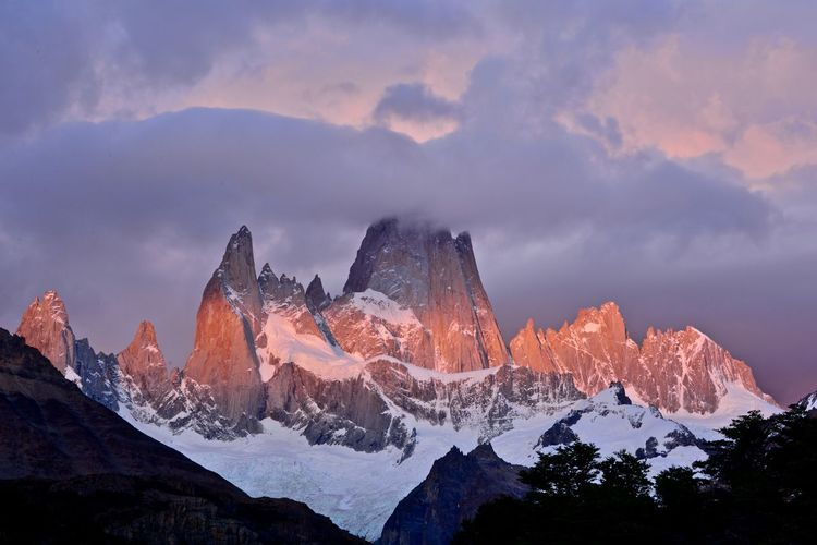 Hiking Los Glaciares National Park Orange Trekking Beauty In Nature Cloud - Sky Dawn Mountain Mountain Range Nature No People Outdoors Scenics Sky Snow Sunrise Tourism Tranquil Scene Tranquility