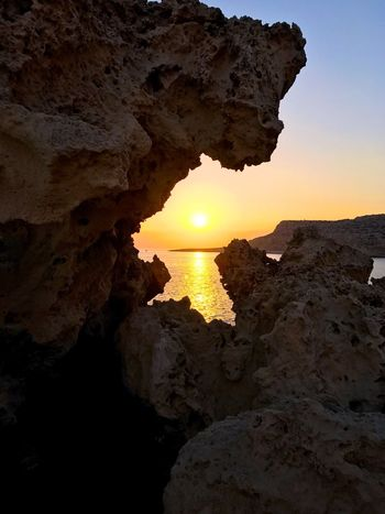 Cape Greco Cyprus Beauty In Nature Sunset_collection Sunset Travel Travel Destinations Sun Rock Formation Sea Bay Physical Geography No People Landscape_Collection Scenics