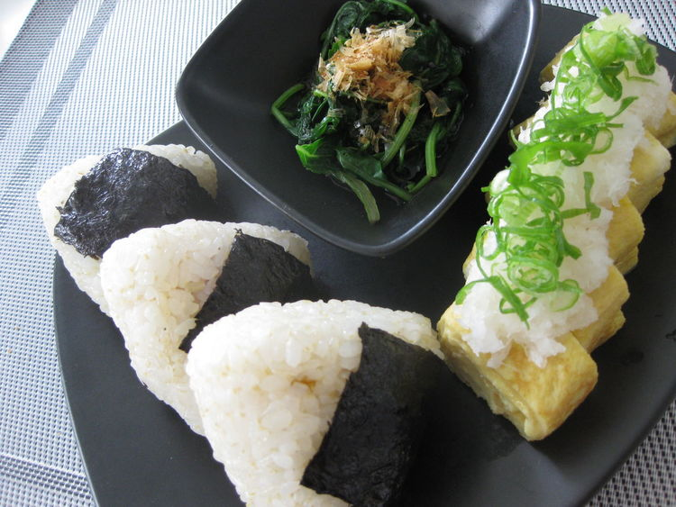 Egg Food Meal No People Rice - Food Staple Rice Ball おにぎり 卵焼き