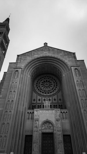 Black And White Blackandwhite Photography City Place Of Worship History Arch Sky Architecture Building Exterior Built Structure Bas Relief Carving Façade Temple Cathedral Place Of Interest Catholicism Christianity Temple - Building Spirituality Church Cross Steeple