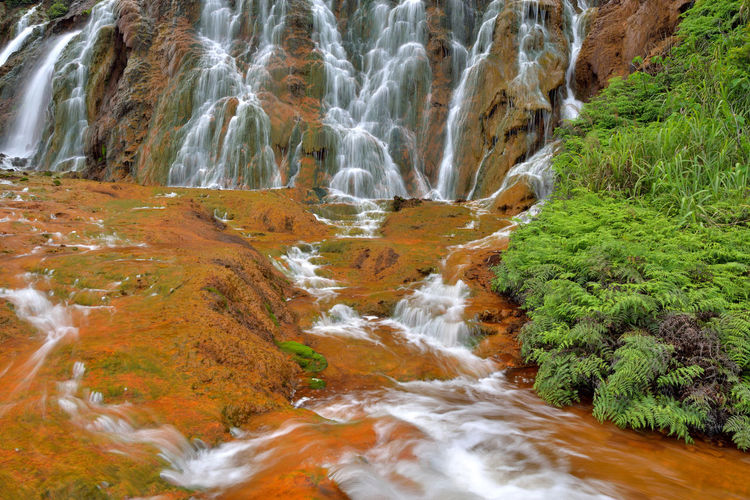 Golden Waterfall is located in Jinguashi, New Taipei City, Taiwan, a scenic tourist area. Beautiful Broad Cool Golden Waterfall Jinguashi Taiwan Beauty In Nature Clear Water Comfortable Day Motion Mountain Nature New Taipei City No People Outdoors Scenics Tranquil Scene Water Waterfall