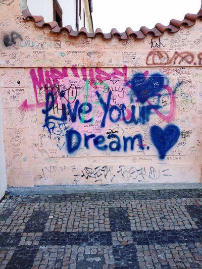 Graffiti Wall - Building Feature Text Spray Paint Outdoors Prague Beautiful City Czech Republic