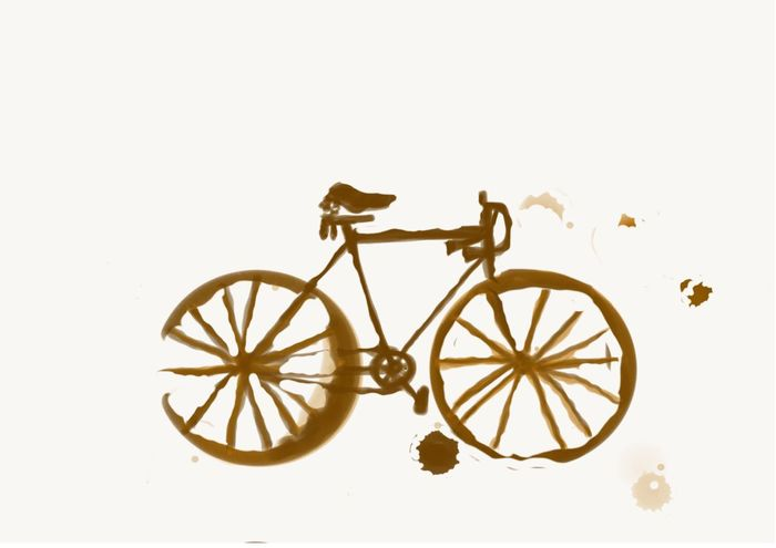 Hand drawing bicycle by coffee stain on white paper Bicycle Gold Colored No People Studio Shot White Background Gold Close-up Day Coffee Coffee Stain