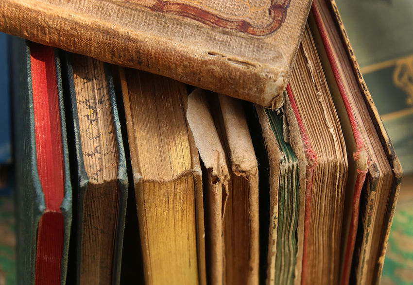 Antique Used Books Antiquarian Books Before 1800 Book Details Close Up Old Books Still Life