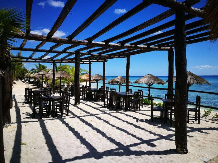 Sunlight Blue Sky Clear Sky Day Nature Outdoors Travel Mexicanstyle Mexico Carubbean Beach Bars Shadow Tree Nature Luxury Water Sea Beach Bar Beach Tranquility Vacations Tropical Climate Beach Club No People The Secret Spaces