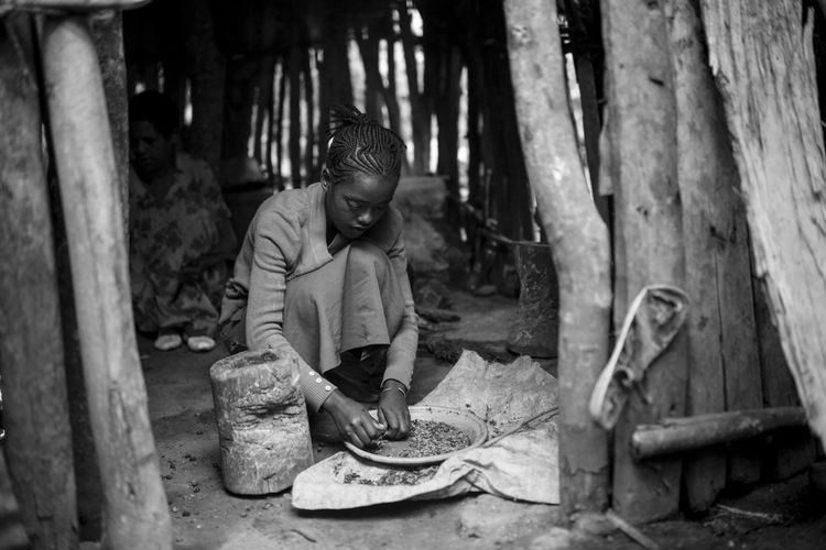 Woman doing preparation