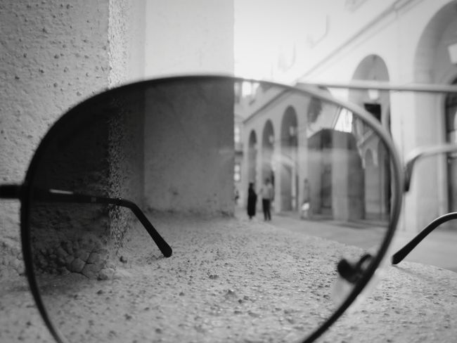 Through the looking glass Sunglasses Glares Couple Milan Black And White Architecture Alley Lane