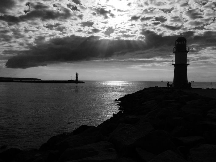 Great day, great light Soaking Up The Sun Clouds And Sky Blackandwhite Black And White Ostsee Warnemünde Rostock Sunset