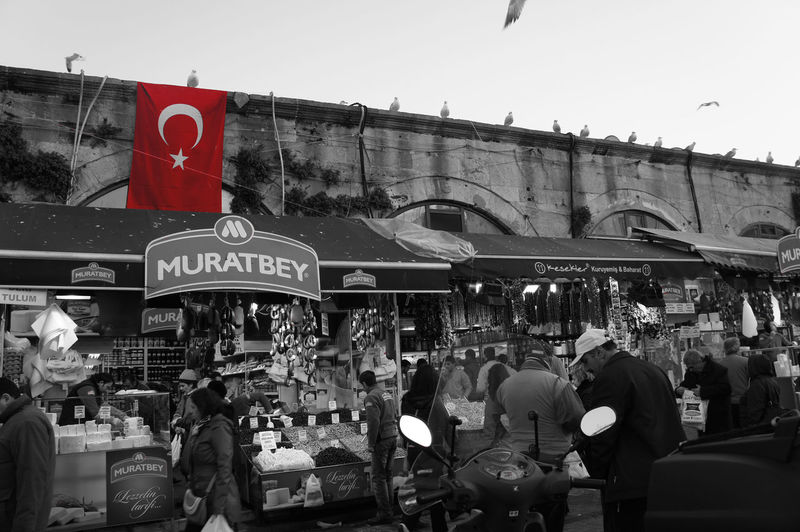 memory of Istanbul Abundance Black And White Building Exterior Buying City Crowd Flag Group Of Objects Istanbul Large Group Of Objects Monocolor National Flag Person Red Turkey