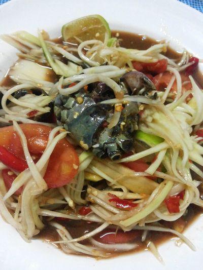 Som Tum.(Papaya Salad) Very Very Good.^_^ Food Thai Foods Eating