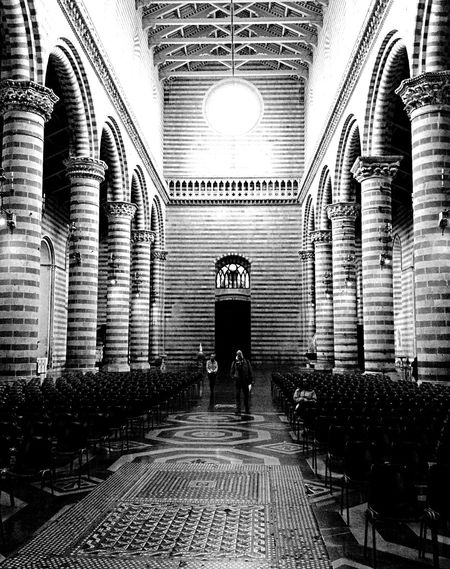 Architecture Black & White Church Columns And Pillars Columns And Rows Duomo Orvieto Empty Chair Ornate Stonework