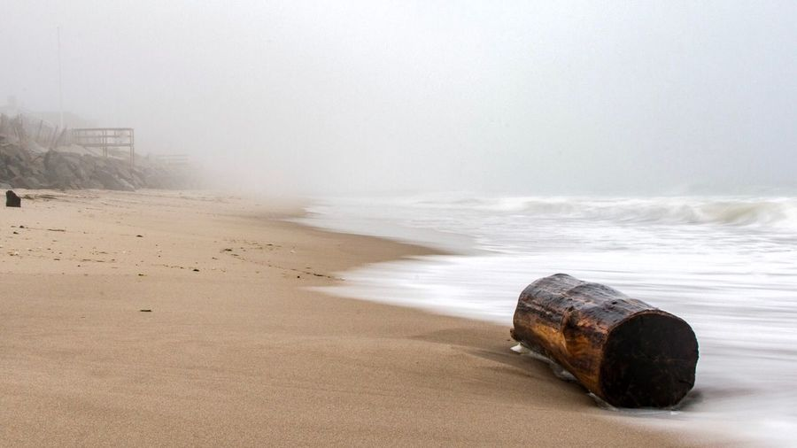 Foggy days Beach Sea Sand Shore Nature Drum - Container Coastline Sky Day Horizon Over Water No People First Eyeem Photo