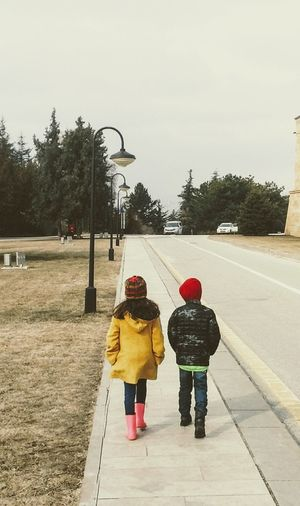 A long way to go ... Rear View Two People Winter Child Walking Togetherness People Outdoors Warm Clothing Cold Temperature Childhood Children Only Children Of The World