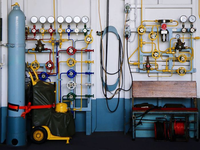 Colorful Valves Of Ship In Control Room