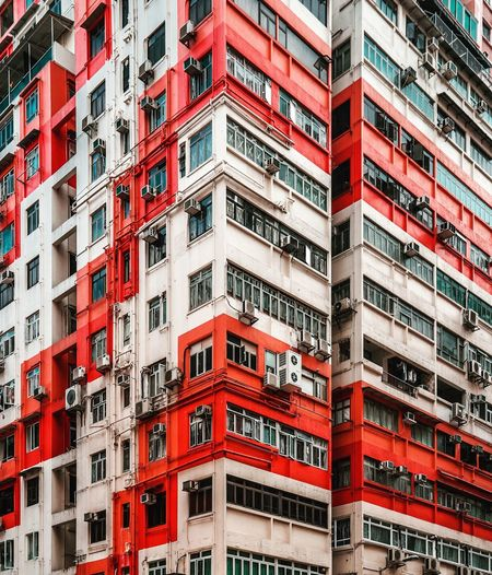 Building Exterior HongKong Architecture Hong Kong EyeEm Selects EyeEm EyeEm Best Shots EyeEmNewHere EyeEm Nature Lover EyeEm Gallery Building Exterior Built Structure Architecture Window City Building Red Residential District Full Frame Apartment Low Angle View No People Balcony Day Outdoors Pattern Backgrounds Repetition Wall - Building Feature Sunlight