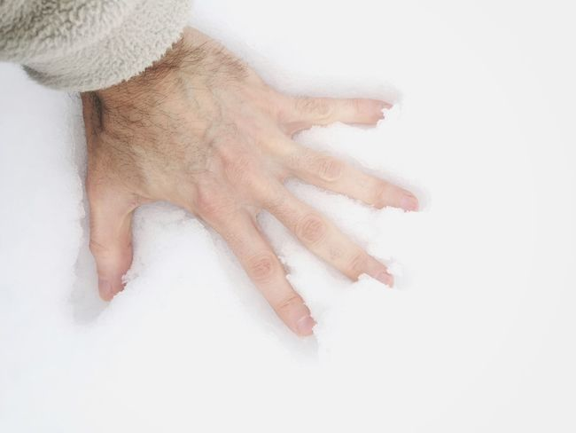 hand in snow Wintertime Snow Male Human Body Part Human Hand High Angle View Close-up One Person White Background People Day