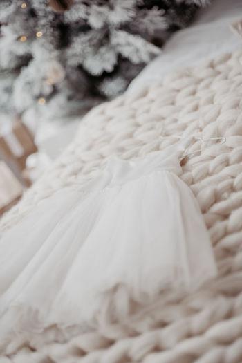 Full frame shot of white bed