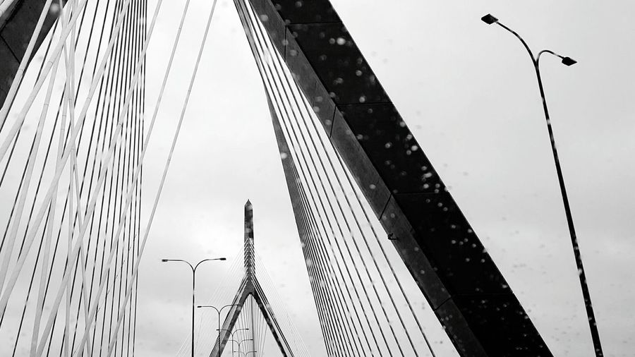 Raindrops on Zakim. Cable-stayed Bridge Sky Low Angle View Connection Built Structure City Street Light Bridge - Man Made Structure Suspension Bridge Cable Tall - High Rainy Day Outdoors Engineering Steel Cable No People International Landmark Boston, Mass Scenic EyeEm Best Shots - Black + White S6 Black & White Monochrome Photography Black And White Photography 800th Photo