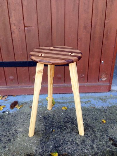 my wooden stool made out of walnut and pine