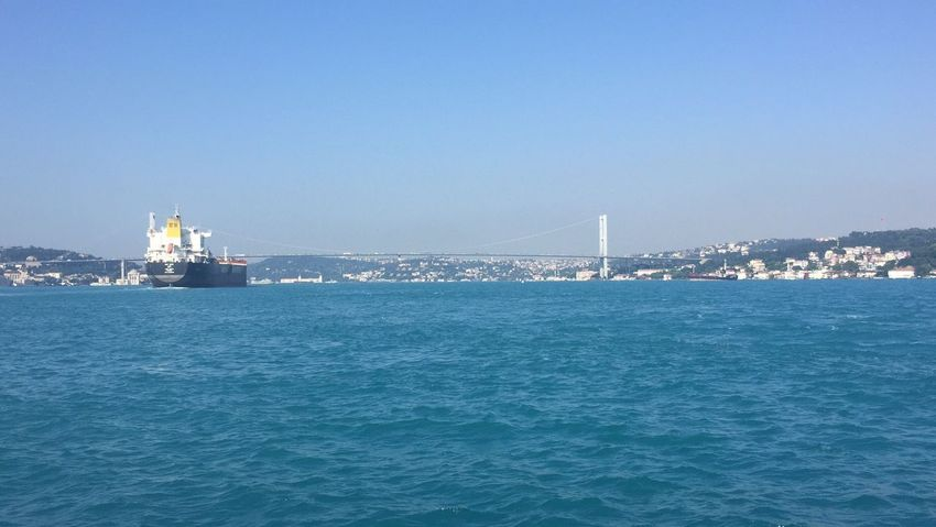 Cargo ship on istanbul bosphorus sea Sea Istanbul Bosphorus Bridge Transportation Outdoors Ship Bridge