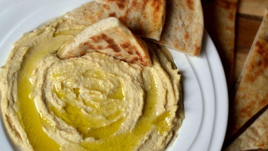 Close-up of hummus on plate