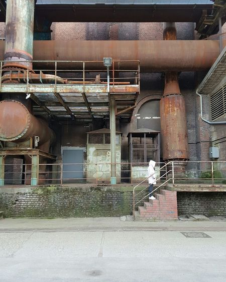 Me Old Buildings Stairs Full Frame Building Exterior Technology Adapted To The City Rusty Faded Steelwork Industry Vintage Facades Factory Steel Built Structure Female Model Thoughtful Pipeline Lines Abandoned Coat Cold Day Winter Bricks Light Colors Stories From The City