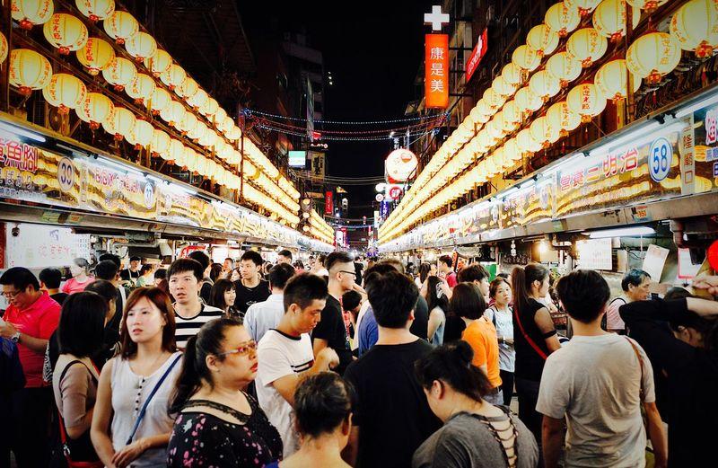 Taiwan Food Taiwan Group Of People Crowd Large Group Of People Real People Architecture Building Exterior City Celebration Night Leisure Activity Lighting Equipment Women Illuminated Lifestyles Built Structure Adult Men Market Street Market