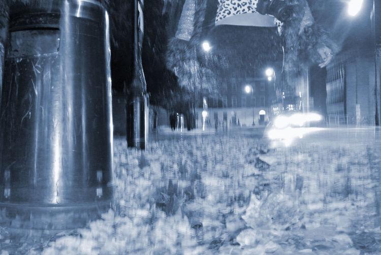 Blurred Motion Front Curtain G Ghostly Lifestyles London Long Exposure Motion Night Trash Bin Trashcan United Kingdom