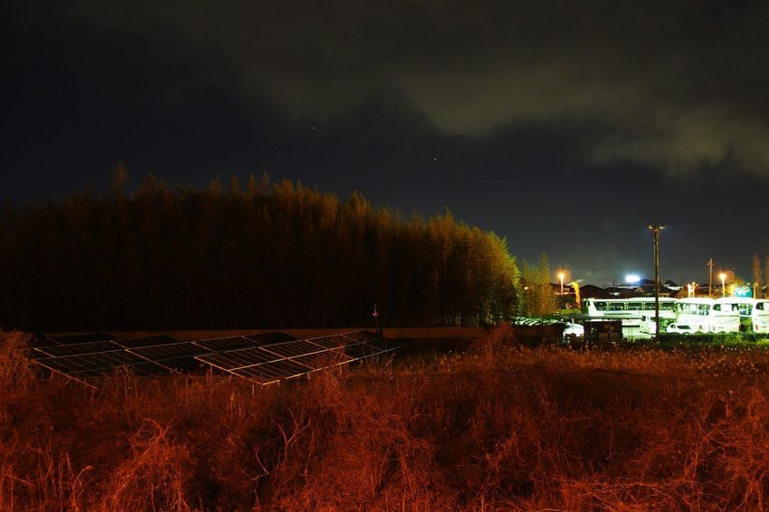 Night Illuminated Field Social Issues Fuel And Power Generation Outdoors No People Sky