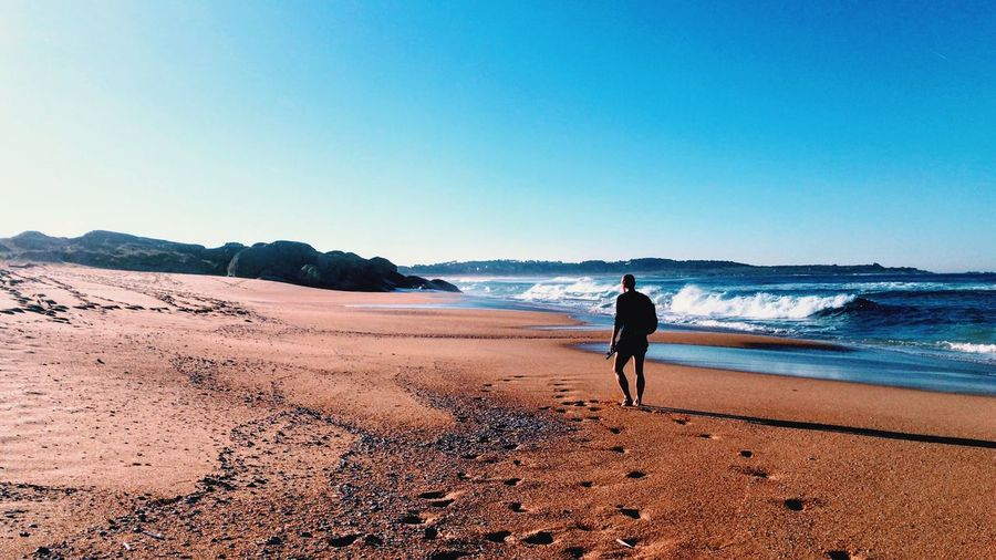 Galicia Sea Water Land Beach Sky Real People Full Length One Person Beauty In Nature Lifestyles Clear Sky Nature Leisure Activity Scenics - Nature Day Sand Sunlight Horizon Over Water My Best Photo My Best Photo