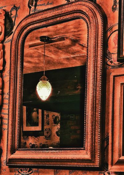 Reflected Light Light Mirror Antique Effect Old Design Wooden Beam Old Style Mirror Reflected Interior