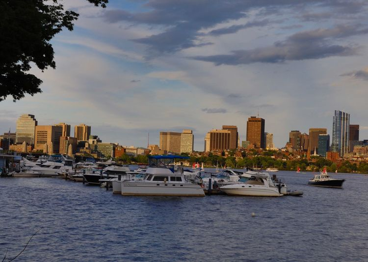 Boston skyline from MIT Building Exterior Architecture City Nautical Vessel Built Structure Water Mode Of Transportation Sky Transportation Building Cloud - Sky Waterfront Cityscape Nature Travel The Great Outdoors - 2018 EyeEm Awards The Traveler - 2018 EyeEm Awards