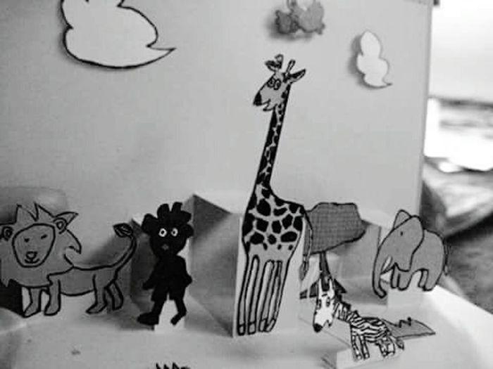 Greeting Cards Greeting Card  Popupcard Savannah Sambo Tibikuro Sambo Giraffe Lion Animals The Story Of Little Black Boy Sambo Children Children 's Books
