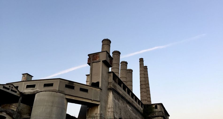 Sky Architecture Built Structure Low Angle View Nature Building Exterior History Smoke Stack Building Factory Copy Space Sunlight Ancient