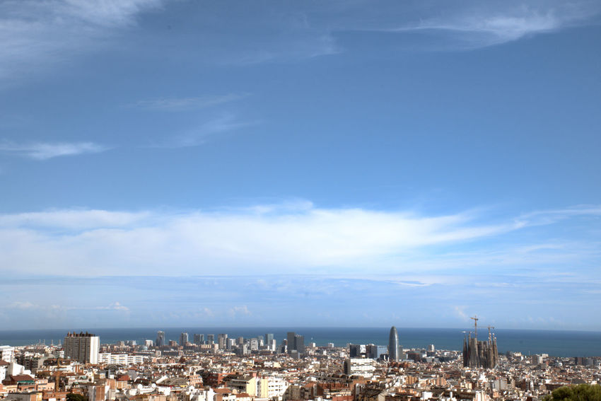 Barcelona's waterfront with mediterranean sea at background Architecture City Cityscape Cloud - Sky Building Crowd Crowded Environment Horizon Landscape Day Sky Barcelona Panoramic Urban Skyline Skyline Mediterranean  Outdoors