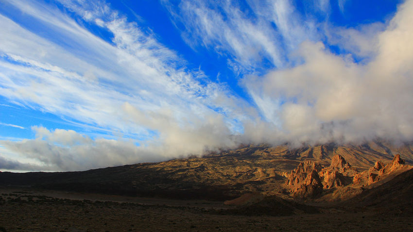 Beauty In Nature Blue Canadas Del Teide Cloud - Sky Cloudy Sky Day Evening Sky Landscape Mountain Nature No People Outdoors Physical Geography Scenics Sky Sky And Clouds Smoke - Physical Structure Teide Teide National Park Tenerife Tranquility Volcanic Landscape