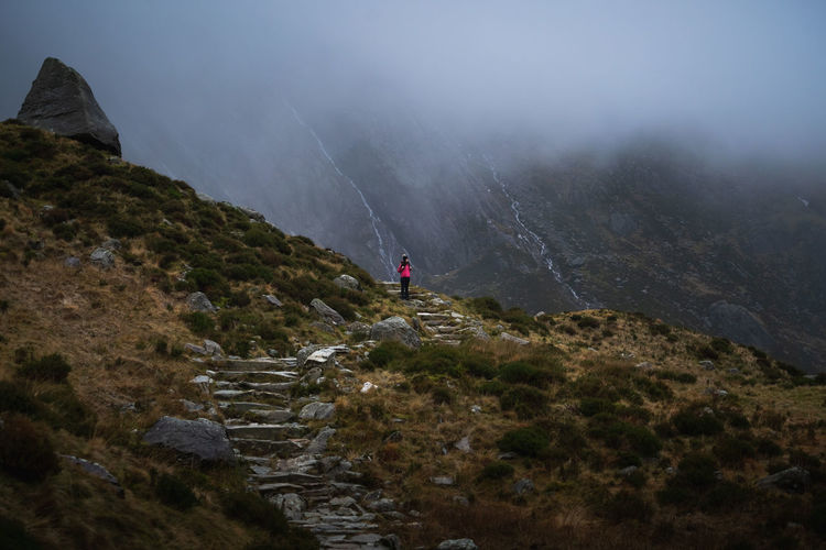 moody hiking Adventure Mountain Activity Leisure Activity Hiking One Person Scenics - Nature Nature Environment Rear View Tranquility Land Day Staircase Exploration Outdoors Conquering Adversity Beauty In Nature Rock Uk Hikingadventures Hiking Trail Hike Steps And Staircases Foggy Sky Fog Foggy Morning Foggy Day Moody Sky Moody Mood Captures