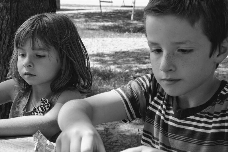 Cute siblings at park