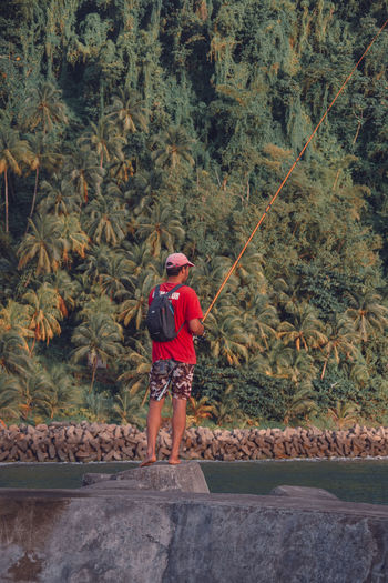 Grand Riviere Grand'Rivière Martinique Palm Tree Activity Adventure Caribbean Fisherman Fishing Island Men Nature One Person Outdoors Real People Sea Standing Tropical Tropical Climate My Best Photo