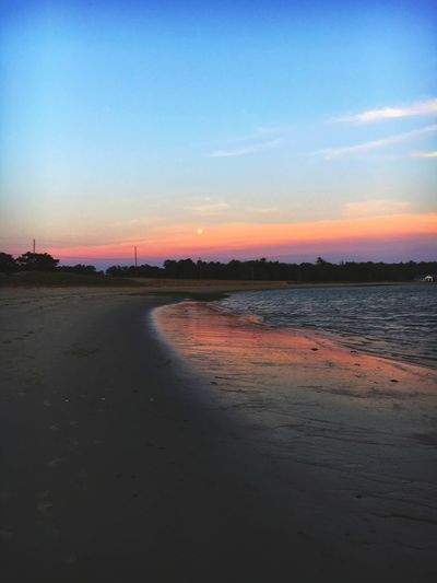 Beach Sunset Ocean Maine IPhoneography Colors Dusk Sky Moon Orange Color Purple