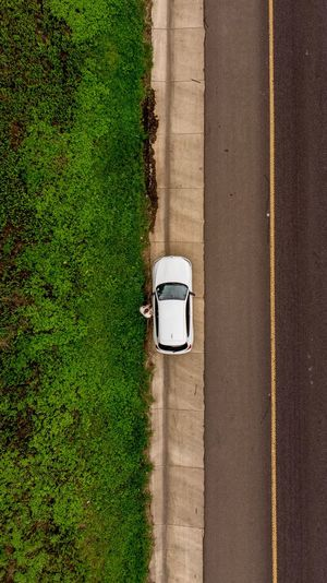 It's a long way home Straight Down Aerial View Green Road White Car Yellow Line Road Plant Green Color Grass Day High Angle View Nature No People