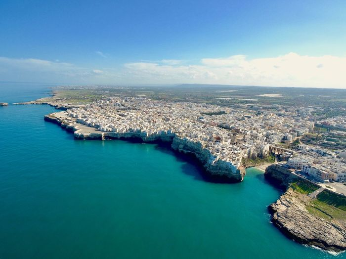 Polignano a Mare Seatown Aerial View Drone Photography Dronephotography Drone  Dji Travel Photography Travel Destinations South Italy Puglia Italy Sea Water Horizon Over Water Sky Nature Scenics Tranquility Blue Architecture No People Day