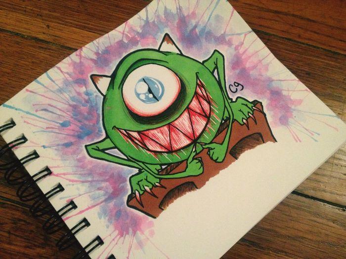 Cute Monsters INC Fan Art Monster Drawing Sketch Cartoon Doodle Creepy Art